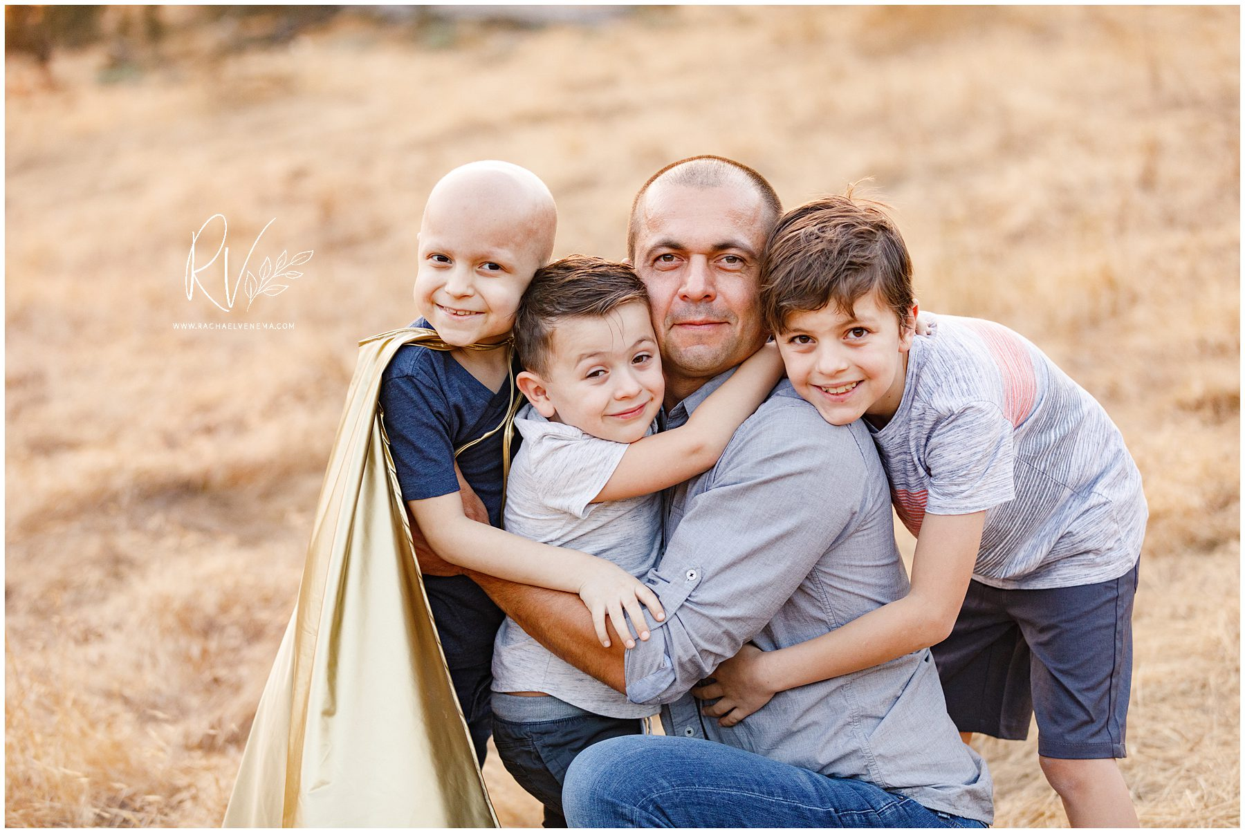 father and his sons during an outdoor family photography session near Ripon, CA